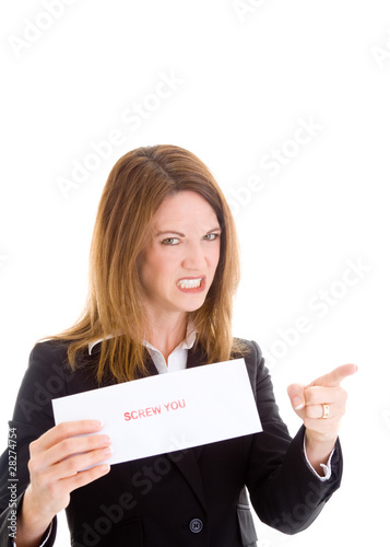 Angry Caucasian Woman Holding Sign Grimacing and Pointing White