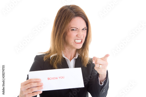 Angry Woman Pointing Accusing Finger Screw You Sign Envelope