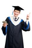 Smiley graduate student in cloak with money poster