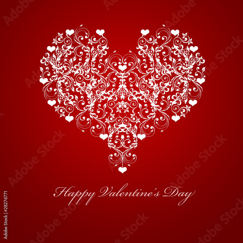 Happy Valentines Day Embossed Leaf Vine Hearts Motif