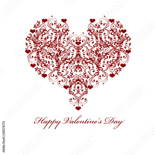 Happy Valentines Day Leaf Vine Hearts Motif
