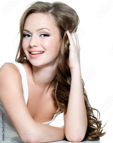 face of teenager girl with clean skin