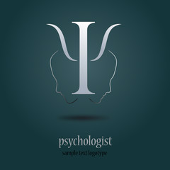 Logo psychologist in gray (vector )