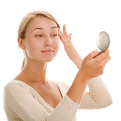 Beauty woman with mirror