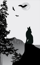 howling wolf on rock illustration