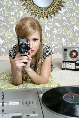 Super 8mm camera retro woman vintage room