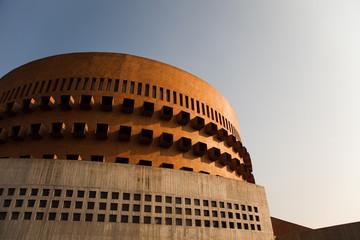 Modern circular library building in Monterrey