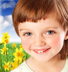 little girl four years old - spring garden