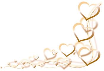 Herzen quer golden