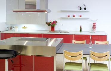 Red island kitchen silver modern interior house