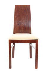 Modern wooden chair with textile isolated