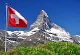 Beautiful mountain Matterhorn with Swiss flag - Swiss Alps - Fine Art prints