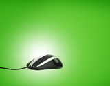 Computer mouse on green background