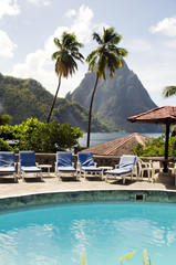 swimming pool view of piton mountains  Caribbean Sea Soufriere S