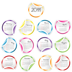 2011 Calendar with curled stickers corners