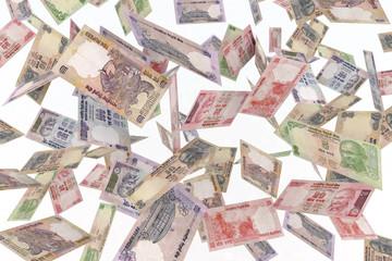 falling banknotes rupee rain