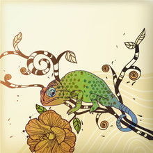 vector background with a chameleon and a desert flower