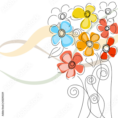 Tuinposter Abstract bloemen Colorful floral background