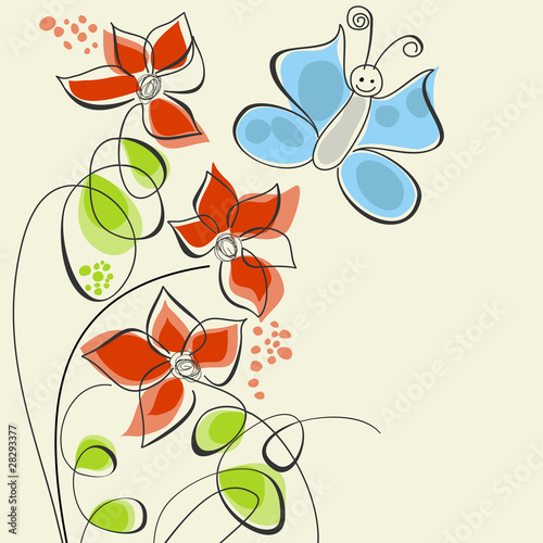 Tuinposter Abstract bloemen Cute flowers and butterfly