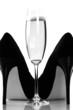 sexy high heels and champange