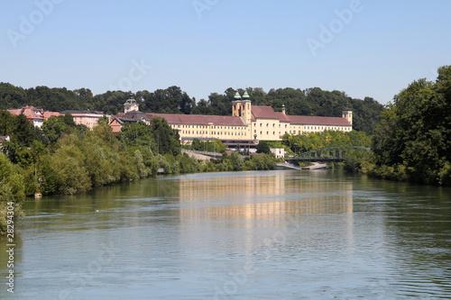 Leinwanddruck Bild Austria - Traun river and Lambach abbey