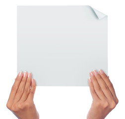 gesture of hand holding a blank white paper with both hands