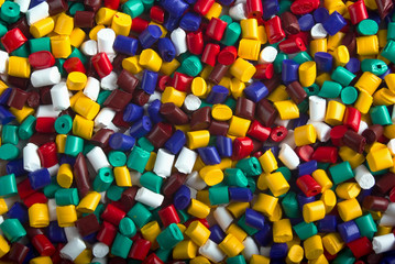 Colorful industrial plastic granules