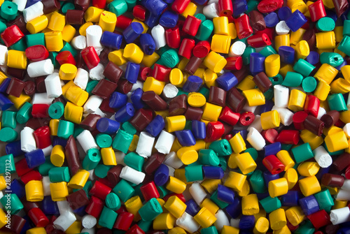 Colorful industrial plastic granules