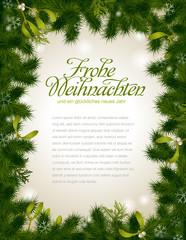 Weihnachtsrahmen aus Tannengrün und Misteln