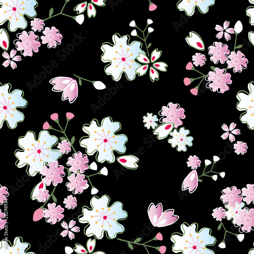 Seamless japanese blossom pattern