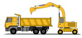 Hydraulic shovel and lorry vector poster