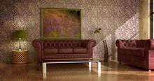 Klasyczny, rustykalny wnętrze kraju z zieloną skórzaną sofą.
