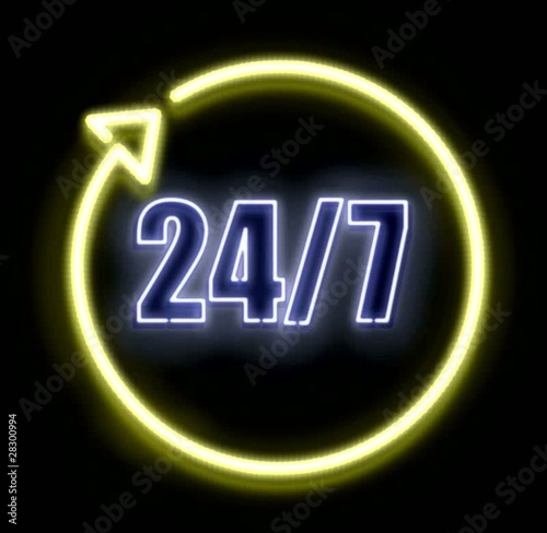 Open 24/7 Neon Animated