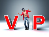 man and 3d vip text