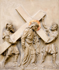 Relief of Jesus Christ with the cross from Vienna church
