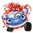 Automobile Cartoon con Fiocco-Cartoon Car Gift