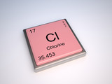 Chlorine chemical element of the periodic table with symbol Cl poster