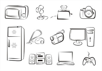 big set of home related electric goods icons part 2