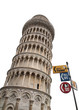 The signs support The leaning tower of Pisa