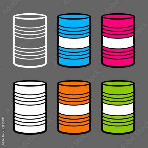 Six steel barrels, vector illustration
