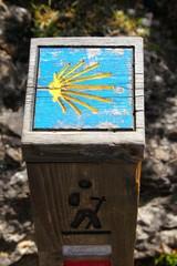 Way of Saint James wooden pilgrims road sign