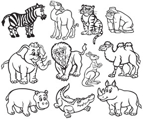 Set of Black and White Wild Animals