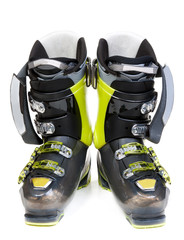 Pair green-dark ski shoe