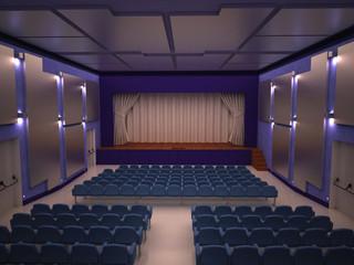teatro cinema attori platea palco render 3d