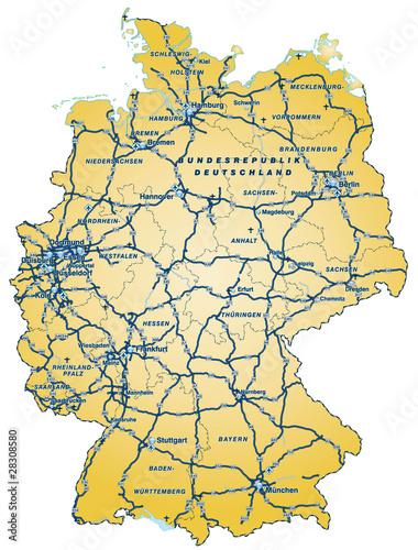 Deutschland mit Autobahnen als Vektordatei