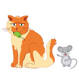 Mouse mocking cat vector poster
