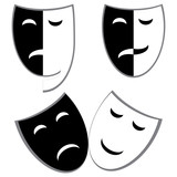 Drama and comedy masks vector poster