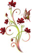 Ranke, flora, filigran, Blumen, Blüten, rot, grün