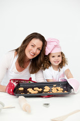 Adorable mother and daughter showing a plate with biscuits