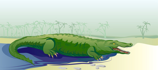 crocodile on tropical background